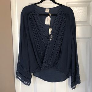 Surplice Top with lace flare sleeve